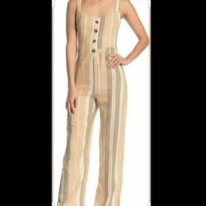 Romeo + juliet Button Linen Blend Jumpsuit